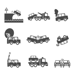 Black and white car crash icons vector