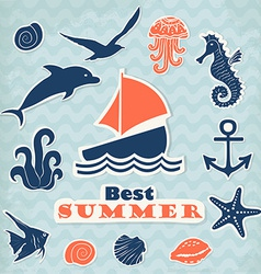 Set of stickers with marine life vector
