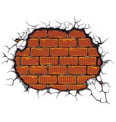 Damaged brickwall vector