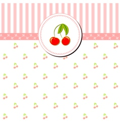 Colorful cherry greeting card vector