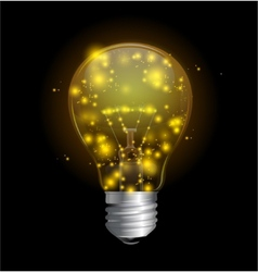 Light bulb and magic lights vector