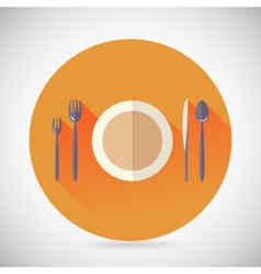 Restaurant cuisine meals symbol plate spoon fork vector