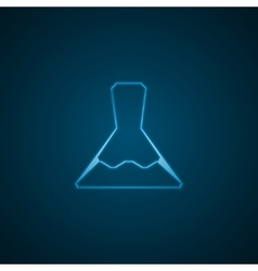 Laboratory flask blue background vector