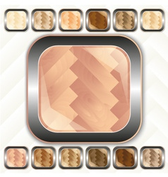 Parquet wooden set of buttons icons vector