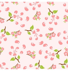 Stylized flowers and leaves of cherry vector