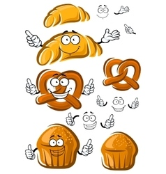 Cake croissant and pretzel characters vector