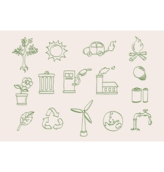 Environment doodle icons vector