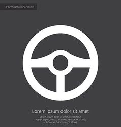 Steering wheel premium icon white on dark backgrou vector