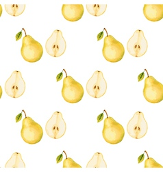 Watercolor pattern of fruit pear vector