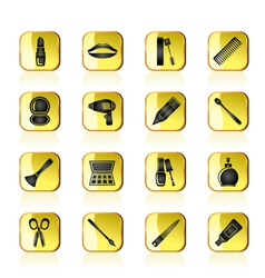 Make up and hairdressing icons vector