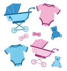 Blue and pink baby items for boys and girls vector