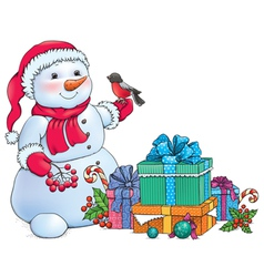 Snowman and christmas gifts vector