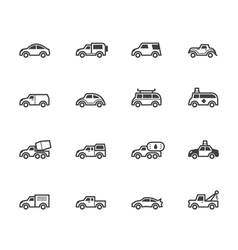 Car black icon set on white background vector