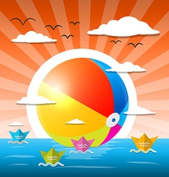 Beach ball in water - ocean or lake with paper vector
