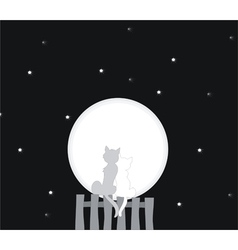 Cats looking at the moon vector