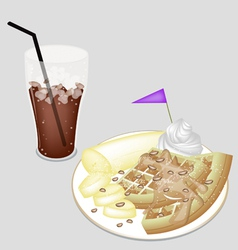 A delicious iced coffee with tradition waffle vector