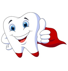 Cute cartoon superhero tooth vector