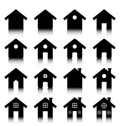 House icon set with reflection vector