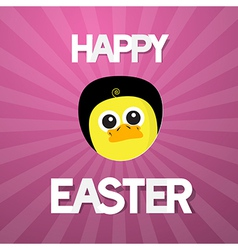 Happy easter abstract pink background with funny vector