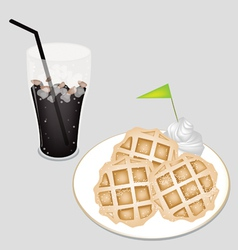 Sweet black iced coffee with tradition waffle vector