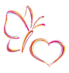 Heart and butterfly vector
