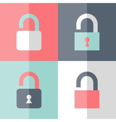 Flat open padlock icon set vector