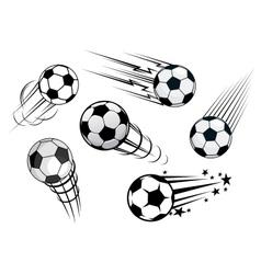 Speeding footballs or soccer balls vector