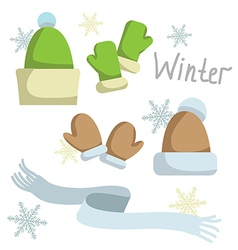 Set of winter clothing hat mittens and scarf vector