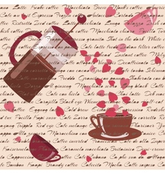 Seamless pattern with coffee and hearts vector