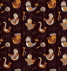 Cartoon jazz orchestra concept wallpaper birds vector