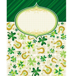 Green background with shamrock and horseshoes vector