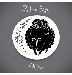 Aries zodiac sign of horoscope circle emblem in vector
