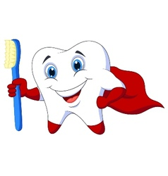 Cute cartoon superhero tooth with toothbrush vector