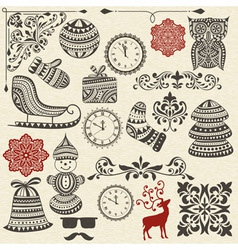 Vintage holiday design elements vector