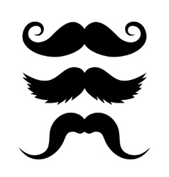 Set of mustache on white background vector