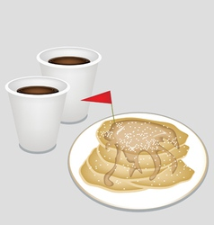 A hot coffee in disposable cup with pancakes vector