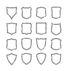 Big set of blank grunge classic shields vector
