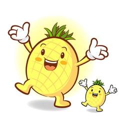 Happy pineapple character vector