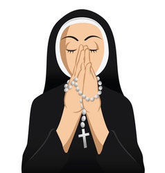 Catholic nun praying vector