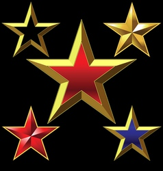Golden five-pointed star vector