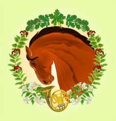 The head brown horse leaves and french horn vector