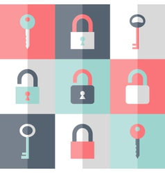 Flat padlock key icon set vector