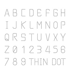 Font thin dot alphabet character style design set vector
