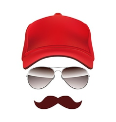 Baseball cap glasses and mustache isolated on vector