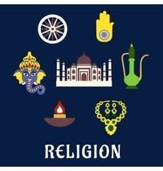 Indian religion and culture flat symbols vector