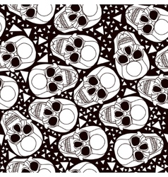 Seamless black and white background with skulls vector