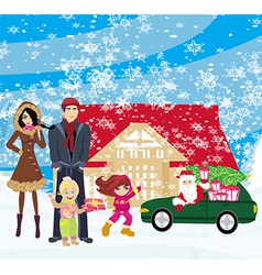 Family waiting for gifts from santa claus vector