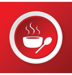 Hot soup icon on red vector