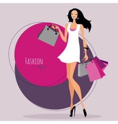 Fashion girl woman with shopping bags vector
