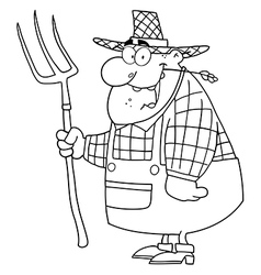 Royalty free rf clipart happy farmer man carrying vector